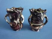 Pair of Sowerby Purple Malachite Slag Glass Vases c1875 (Sold)